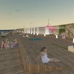Rendering del progetto per una spiaggia libera con servizi a Bisceglie