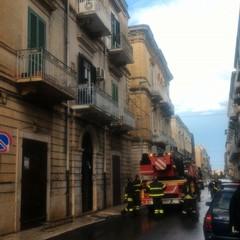 Intervento dei Vigili del Fuoco in via Alcide De Gasperi a Bisceglie