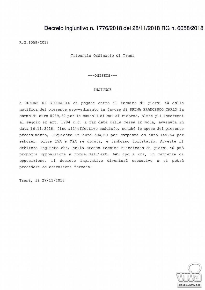 Decreto ingiuntivo emesso in favore di Francesco Spina