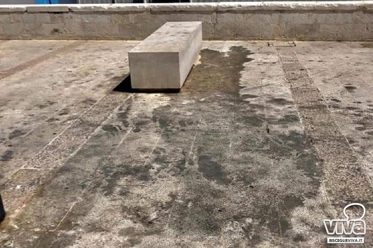 Le condizioni di un tratto di via Nazario Sauro