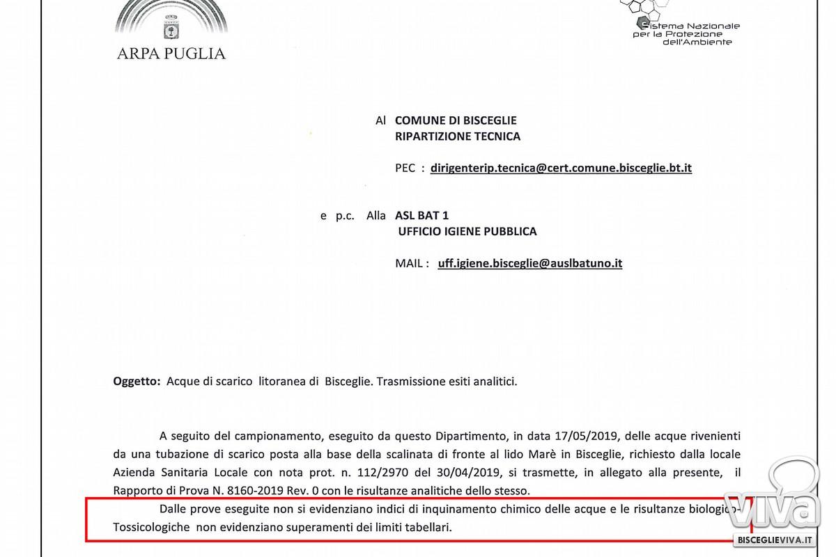 Nota Arpa Puglia sulle analisi alle acque reflue del canale di scolo