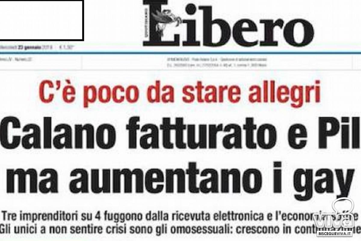 """Prima pagina del quotidiano """"Libero"""" di mercoledì 23 gennaio"""