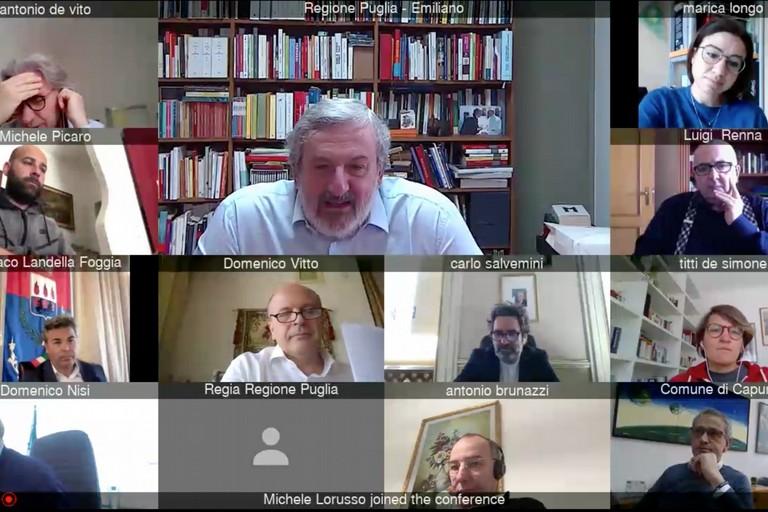 Videoconferenza del presidente della Regione Michele Emiliano coi sindaci pugliesi
