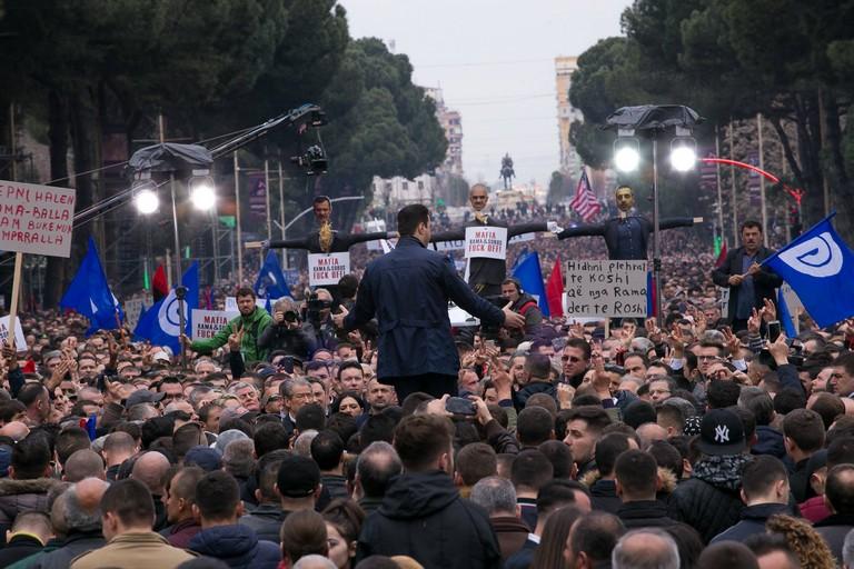 Proteste a Tirana. <span>Foto A. Hoxha </span>