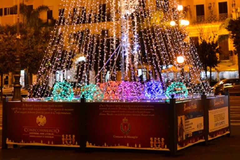 Albero di Natale in piazza Vittorio Emanuele II