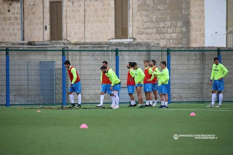 L'Unione Calcio Bisceglie durante un allenamento. <span>Foto Emmanuele Mastrodonato</span>