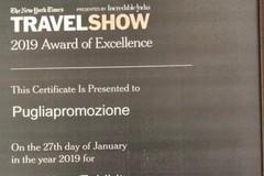 """La Puglia premiata a New York con il """"2019 Award of Excellence"""""""