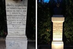 Vandali  prendono di mira il monumento ad Umberto Paternostro: pronto intervento di pulizia del comune