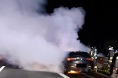 Auto in fiamme sul tratto biscegliese dell'A14