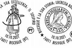 Due annulli filatelici dedicati al sospiro biscegliese e a Lucrezia Borgia