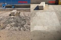 L'amministrazione: «Ripulita la pavimentazione in via Nazario Sauro»