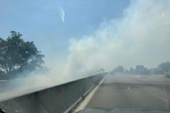 Sterpaglie a fuoco, visibilità ridotta sulla statale 16 bis