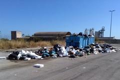 Un container di rifiuti abbandonato nella zona artigianale