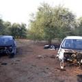 Ritrovate nell'agro coratino le carcasse di due auto rubate a Bisceglie
