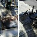 Distrutto il muretto di fianco alla fontana di via Pio X