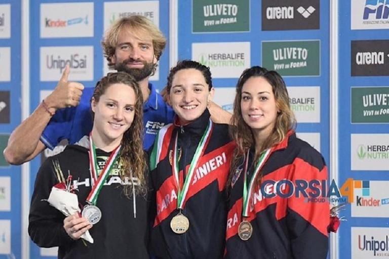 Elena Di Liddo (al centro) sul podio con le insegne dei Carabinieri