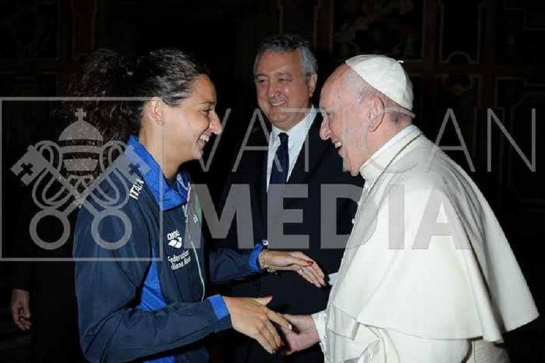 Elena Di Liddo ricevuta in Vaticano da Papa Francesco. <span>Foto Photovat.com</span>