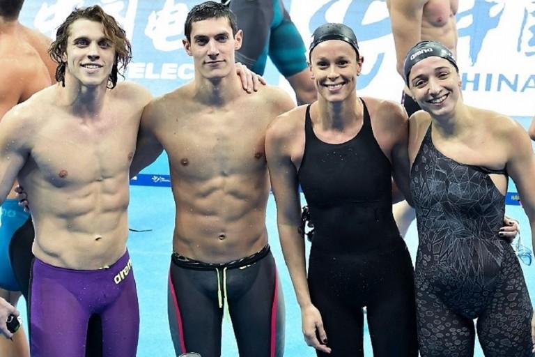 Elena Di Liddo con Simone Sabbioni, Fabio Scozzoli e Federica Pellegrini