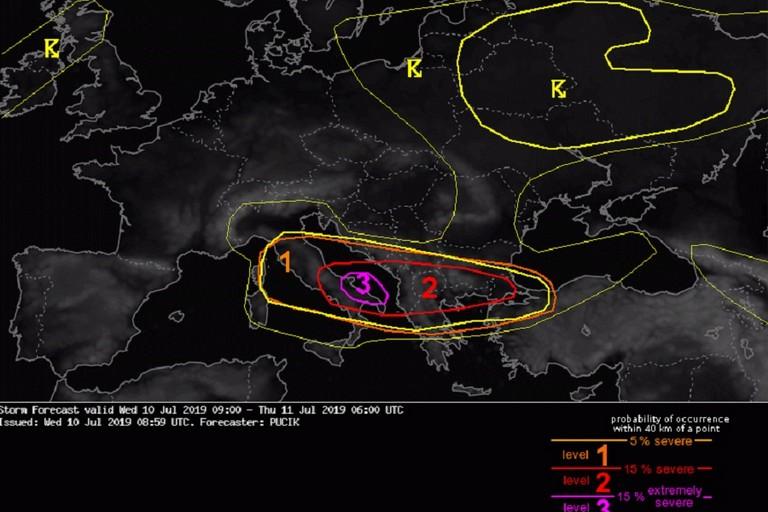 Allerta meteo Estofex sulla Puglia