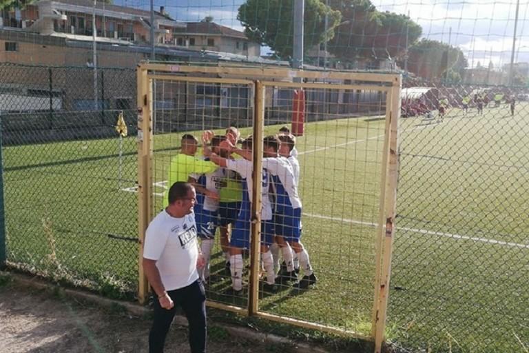 Esultanza dell'Unione Calcio Bisceglie nel match con l'Alto Tavoliere San Severo