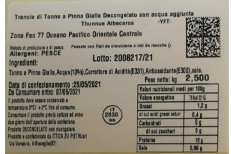 Etichetta indicante il lotto richiamato
