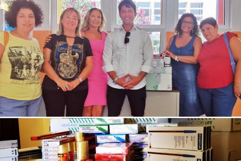 Davide Galantino dona materiale materiale in esubero del suo ufficio a una scuola biscegliese