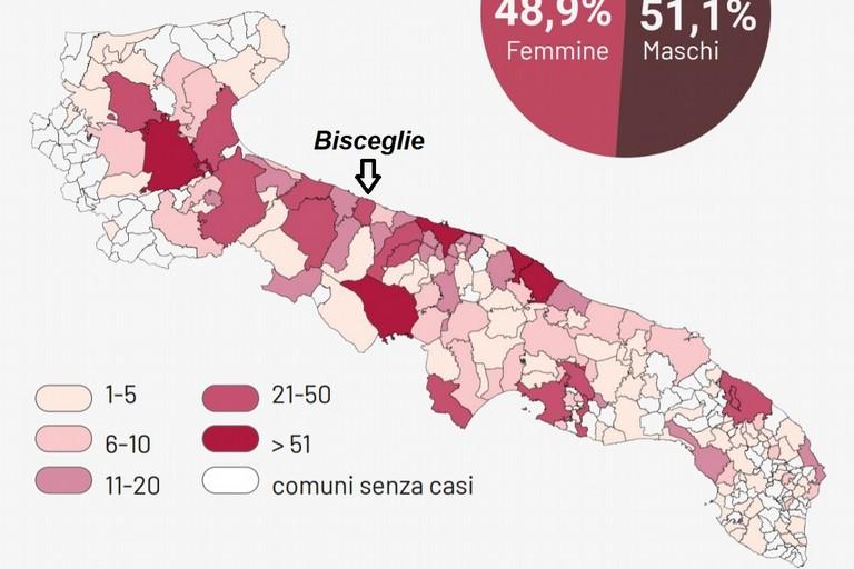 Mappa dei contagi in Puglia aggiornata al 19 settembre