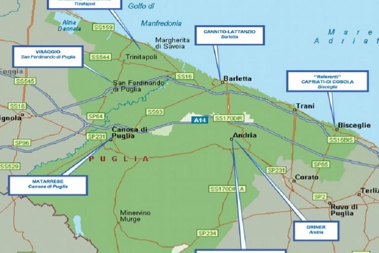 Mappa della criminalità organizzata nella provincia Bat
