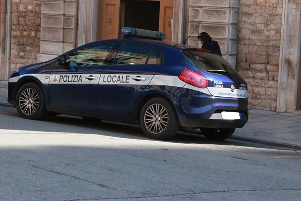 macchina della polizia. <span>Foto Rosa Di Terlizzi/Giulia Ferrante</span>