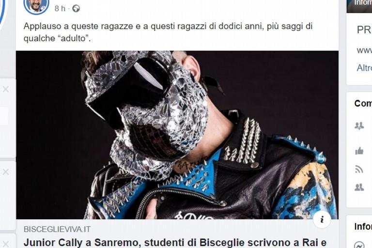 L'articolo di BisceglieViva condiviso sulla pagina di Matteo Salvini
