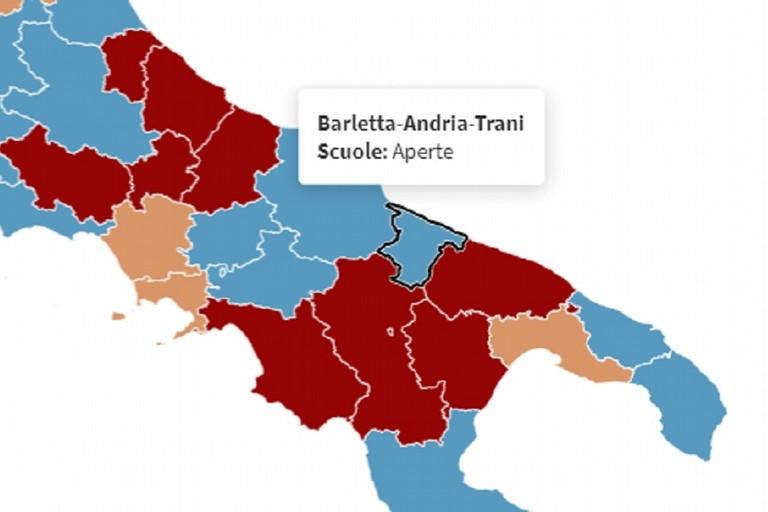 Grafico Youtrend sulla situazione dei contagi in Puglia nel rapporto alle linee guida Cts