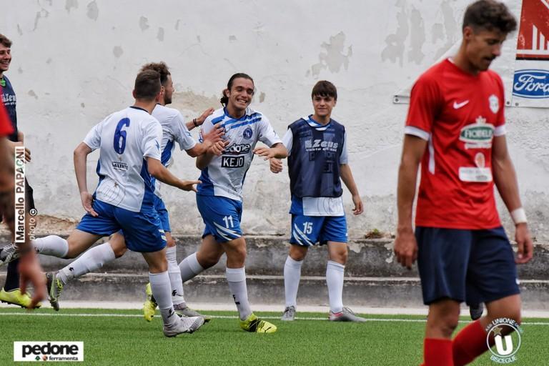 L'esultanza del giovane Petrignani dell'Unione Calcio Bisceglie. <span>Foto Marcello Papagni</span>