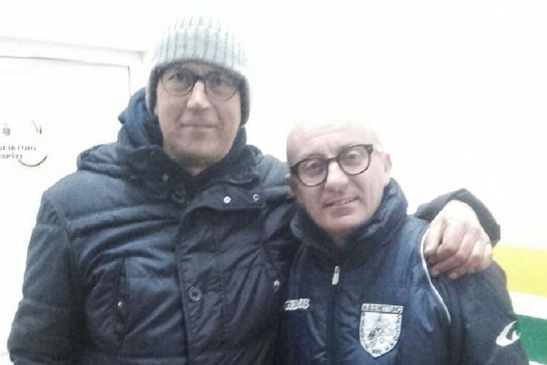 Il dirigente del Nettuno Nicola Ferrante con mister Bartolo Sasso. <span>Foto BisceglieViva</span>